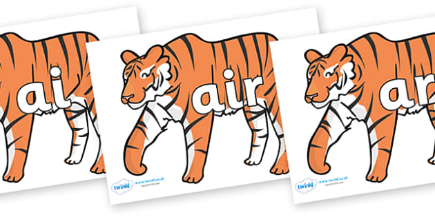 Phase 3 Phonemes on Tigers - Phonemes, phoneme, Phase 3, Phase three, Foundation, Literacy, Letters and Sounds, DfES, display