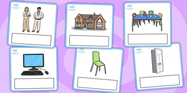 Editable Everyday Objects at School Cards - editable, every day objects, objects at school, cards, information cards, display cards, editable cards