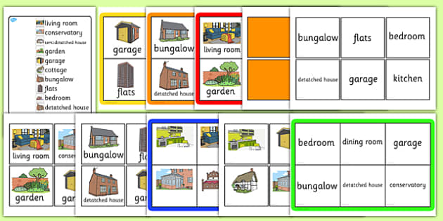 Houses and Homes Bingo - houses, homes, bingo, activity, game