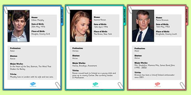 Irish Actors Factfile Display Posters - drama, celebrities