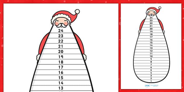 A4 Father Christmas Beard Countdown - father christmas, display