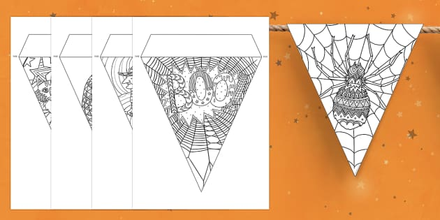Halloween Themed Mindfulness Colouring Display Bunting