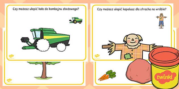 Maty do zabaw z plasteliną Żniwa po polsku - jesień, zboże, owoce , Polish