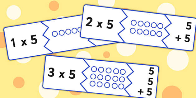 Five Times Table Matching Puzzle Game - times table, matching
