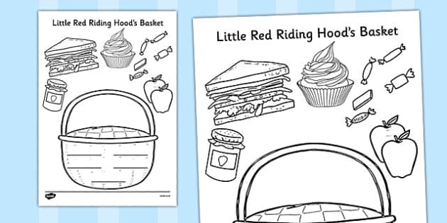 Little Red Riding Hoow Basket Colouring Activity - games, activity, traditional tale, KS1, key stage 1, early years