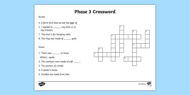 Phase 3 Crossword - phase 3 crossword puzzle, phase 3 crossword worksheet, crossword, phase 3 words, phase 3 word activity, word puzzle, literacy, english