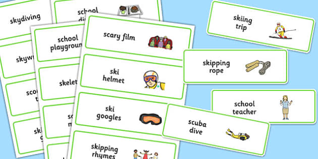 Three Syllable SC/SK Word Cards - three syllable, sc/sk, word cards
