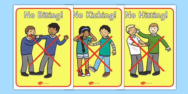 No Biting No Kicking No Hitting Display Posters - No biting, no kicking, education, home school, child development, children activities, free, kids, children behavior, behavior children