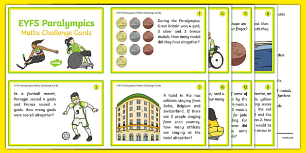 EYFS Rio Paralympic Games Maths Challenge Cards