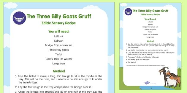 The Three Billy Goats Gruff Edible Sensory Recipe