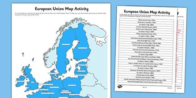 European Union Map Activity - european union, referendum, european, union