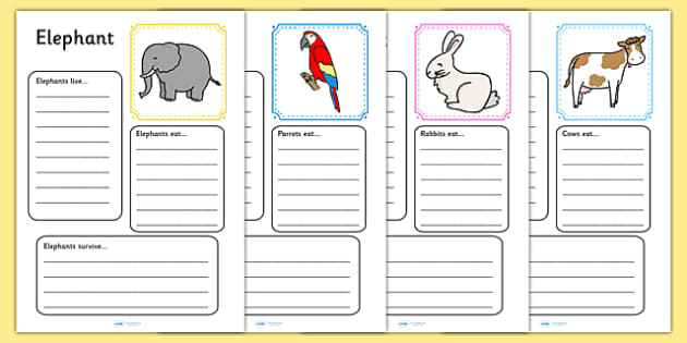 Animal Factfile Worksheets - animal, animals, fact file, facts