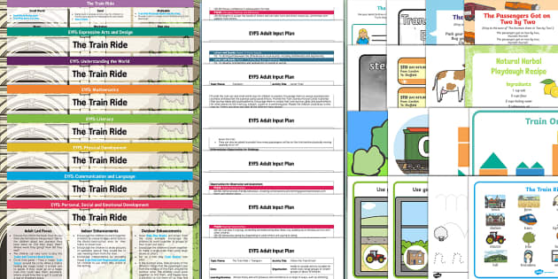 The Train Ride Lesson Plan Enhancement Ideas and Resources Pack - Early Years, continuous provision, early years planning, adult led, transport, travel, journeys, June Crebbin