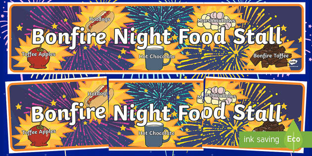 Bonfire Night Food Stall Role Play Banner