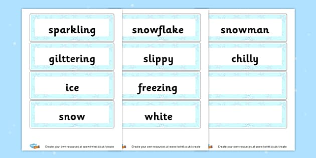 Winter vocabulary Cards - Winter Literacy Primary Resources - The Seasons Winter Primary Re