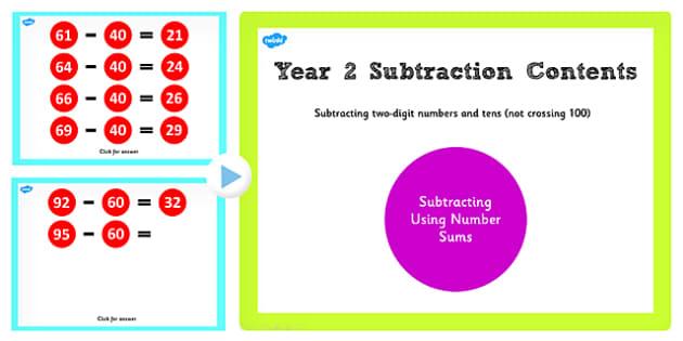 Y2 2 Digit Number Tens Not Cross 100 Subtract Same Tens Main