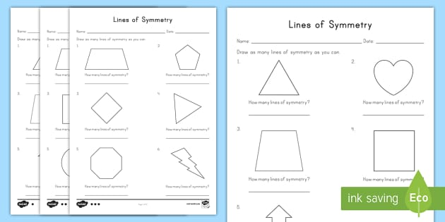 lines of symmetry differentiated activity sheets. Black Bedroom Furniture Sets. Home Design Ideas