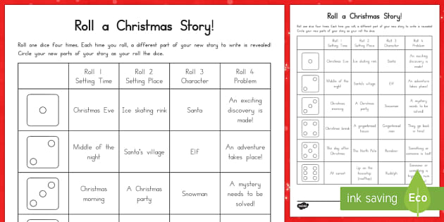 Roll a Christmas Story Storyboard Template - Christmas USA, writing, storyboard, story starter, independent