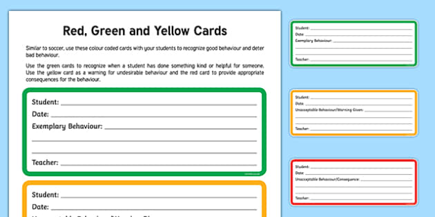 Red, Green and Yellow Cards Signs and Labels
