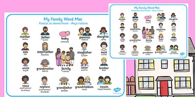 Family Word Mat Polish Translation - polish, family, word mat, word, mat