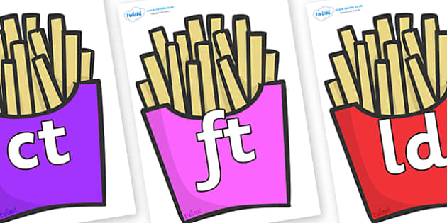 Final Letter Blends on French Fries - Final Letters, final letter, letter blend, letter blends, consonant, consonants, digraph, trigraph, literacy, alphabet, letters, foundation stage literacy