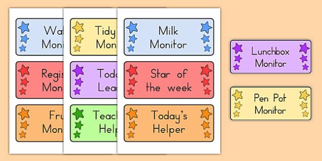 Editable Classroom Monitor Badges - monitor, class management