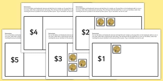 1-20 Dollar Counting Activity - australia, 1-20, dollar, australian dollar, money, activity, counting, count