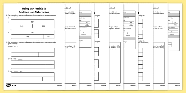 Bar Modelling Addition and Subtraction Activity Sheet Pack Year – Ks2 Maths Worksheets Year 3