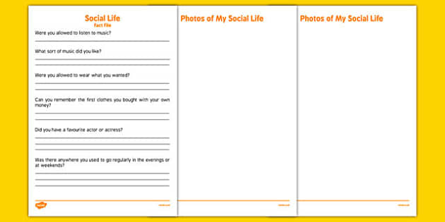 Elderly Care Life History Book Social Life Fact File - Elderly, Reminiscence, Care Homes, Life History Books