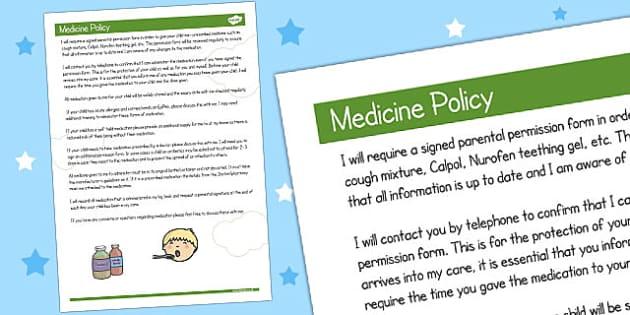 Childminder Medicine Policy - policy, child minder, medicine