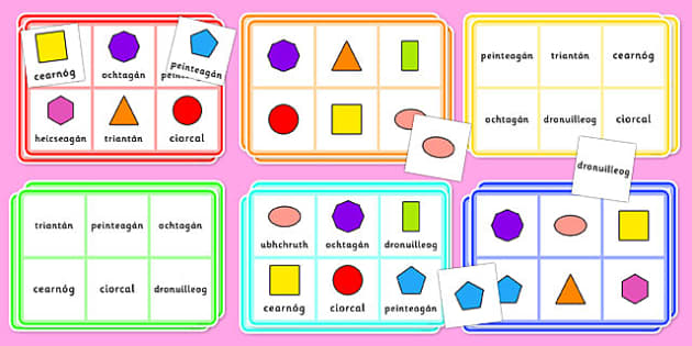 2D Shape Bingo Gaeilge - gaeilge, roi, 2d shape, bingo, game, activity, shape, 2d, maths, numeracy
