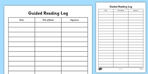 Guided Reading Log - guided reading, reading, log, reading log, book log, log book, reading aid, guided reading aid, read, books, literacy, english