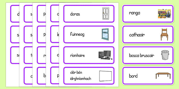 Classroom Word Cards Gaeilge - gaeilge, classroom, word cards, word, cards