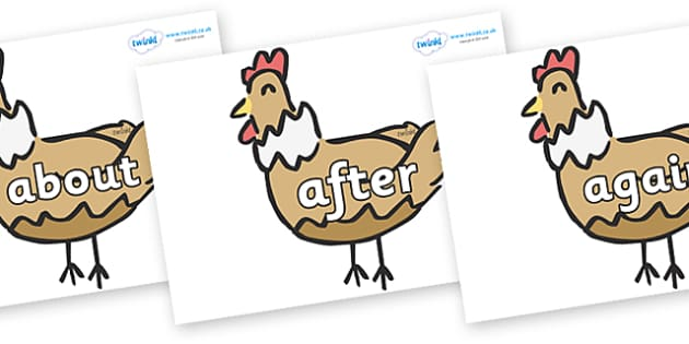 KS1 Keywords on French Hens - KS1, CLL, Communication language and literacy, Display, Key words, high frequency words, foundation stage literacy, DfES Letters and Sounds, Letters and Sounds, spelling