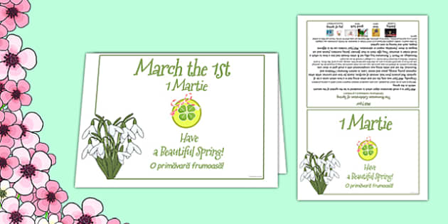 1st of March Romanian Celebration of Spring Card Romanian Translation - Romanian, bilingual, March, spring, celebration, card