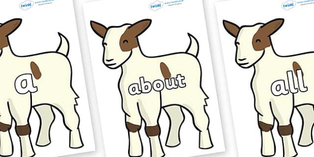 100 High Frequency Words on Baby Goats - High frequency words, hfw, DfES Letters and Sounds, Letters and Sounds, display words