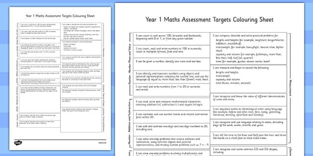 Year 1 Maths Assessment Targets Colouring Sheet - year 1, maths