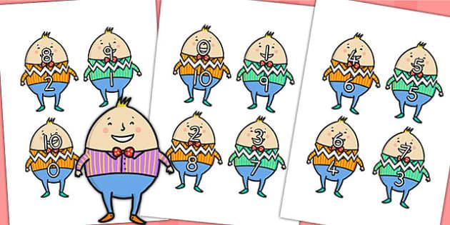 Humpty Dumpty Number Bonds to Ten - nursery rhymes, number bonds