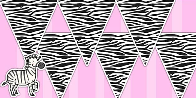 Zebra Pattern Bunting - zebra, animals, jungle, bunting, display