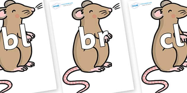 Initial Letter Blends on Mouse - Initial Letters, initial letter, letter blend, letter blends, consonant, consonants, digraph, trigraph, literacy, alphabet, letters, foundation stage literacy