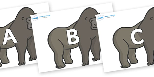 A-Z Alphabet on Gorillas - A-Z, A4, display, Alphabet frieze, Display letters, Letter posters, A-Z letters, Alphabet flashcards