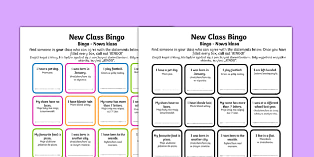 New Class Bingo Polish Translation - polish, transition, games, classroom games, preparation