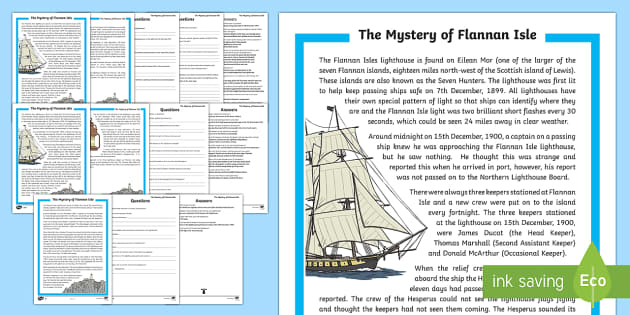 The Mystery of Flannan Isle Differentiated Reading Comprehension Activity-Scottish - CfE Literacy, reading, comprehension strategies, literacy, mystery,Scottish