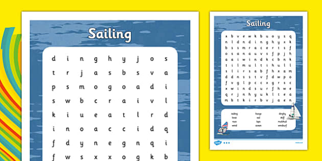 Rio 2016 Olympics Sailing Word Search - rio 2016, rio olympics, 2016 olympics, sailing, word search