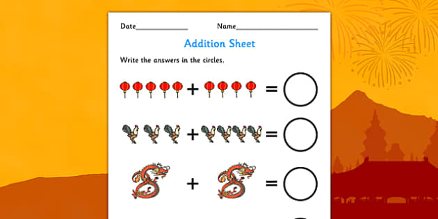 Chinese New Year Addition Worksheet - chinese, new year, addition
