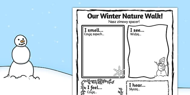 Our Winter Nature Walk Writing Frame Polish Translation - polish, our, winter, nature walk, writing frame