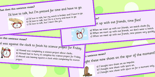 Time Idioms Multiple Choice Cards - time, idioms, multiple, choice
