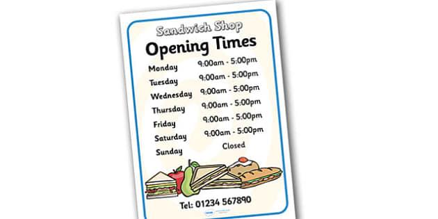 Sandwich Shop Role Play Opening Times - sandwich shop, role play, opening times, sandwich shop opening times, role play opening times, sandwich shop times