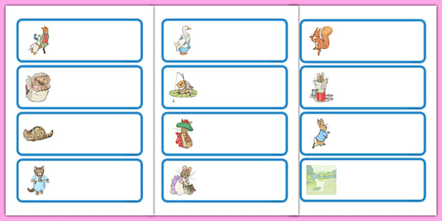 Beatrix Potter Drawer Peg Name Labels - beatrix potter, author, drawer, peg, name, labels