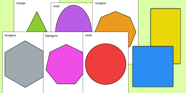 2D Shape A4 Cut Outs French - french, 2d shape, cut outs, shape, 2d, maths, numeracy,2Dshape